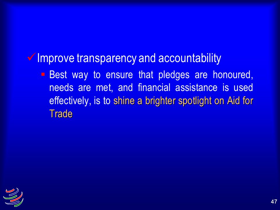 Improve transparency and accountability
