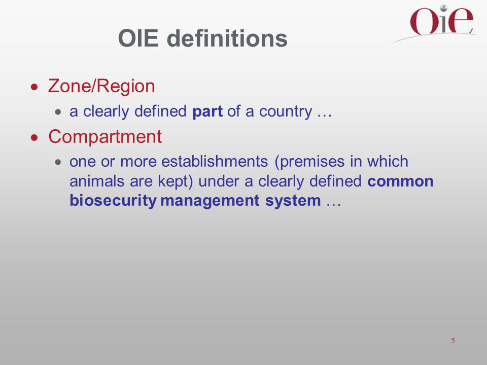 OIE definitions Zone/Region Compartment