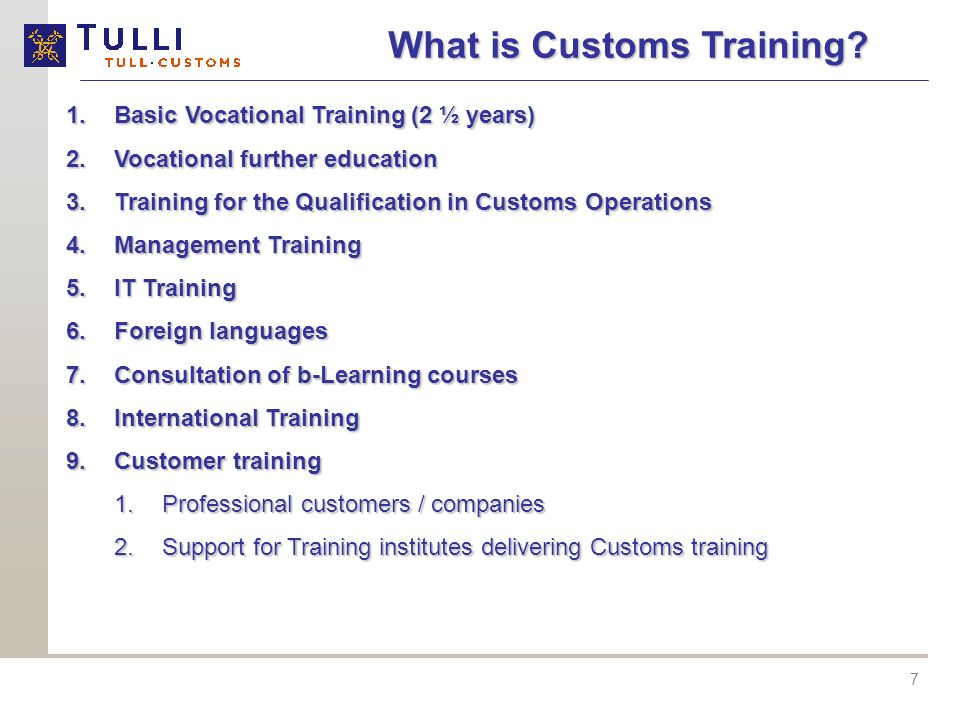 What is Customs Training