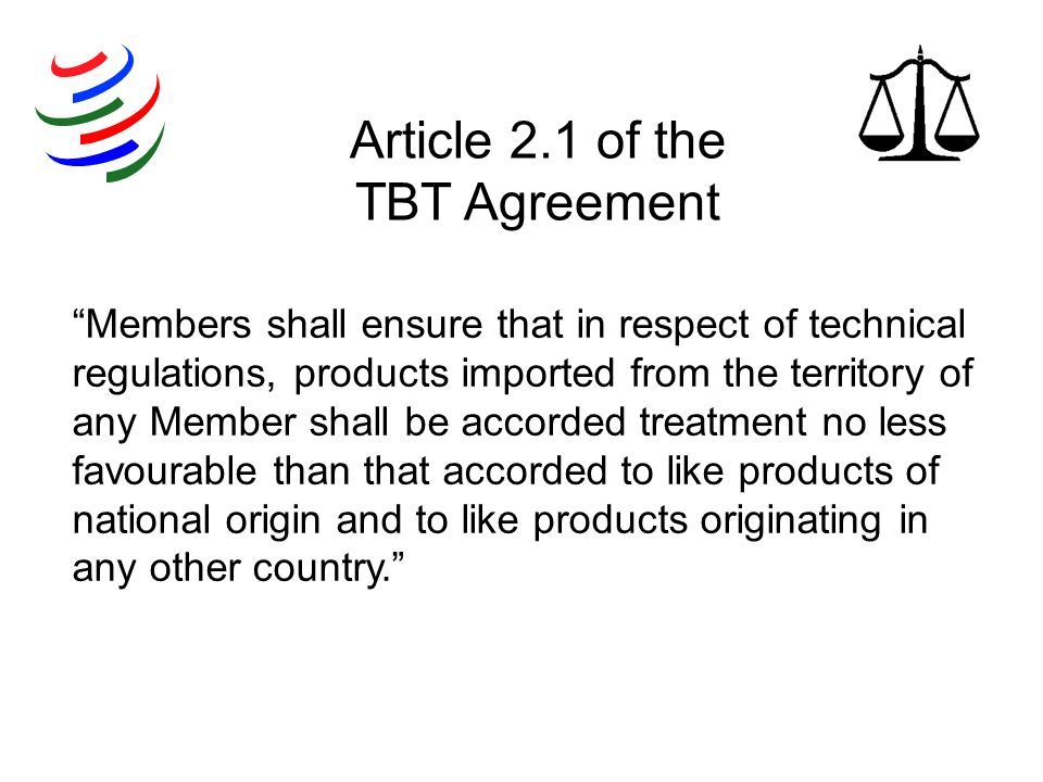 Article 2.1 of the TBT Agreement