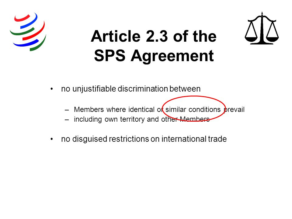 Article 2.3 of the SPS Agreement