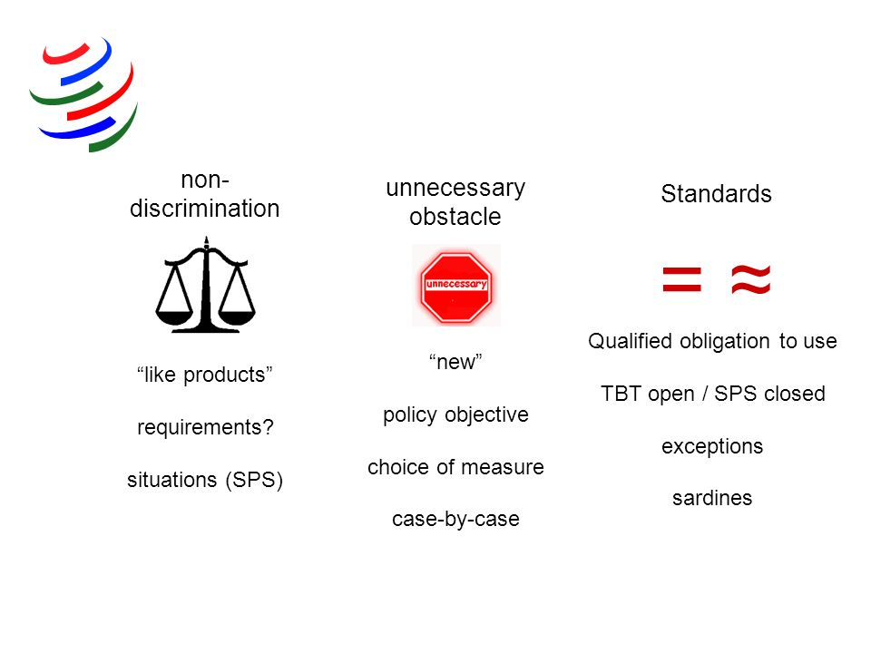 = ≈ non-discrimination unnecessary obstacle Standards