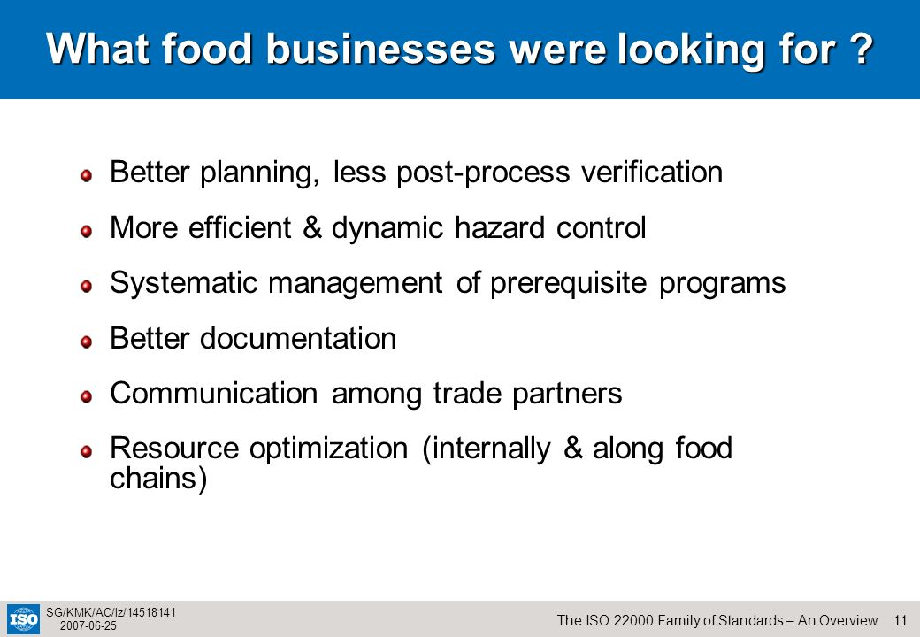 What food businesses were looking for