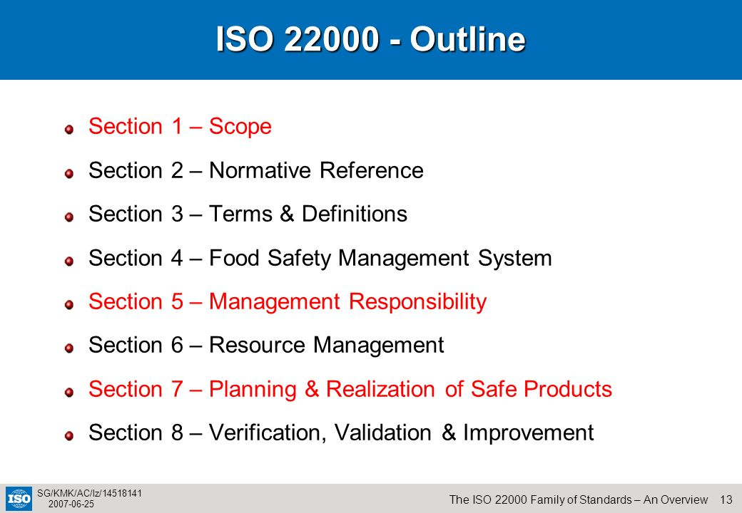 ISO 22000 - Outline Section 1 – Scope Section 2 – Normative Reference