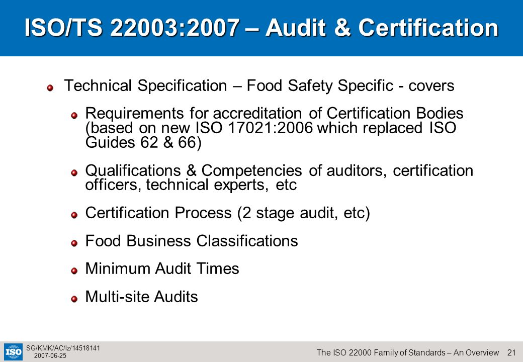 ISO/TS 22003:2007 – Audit & Certification