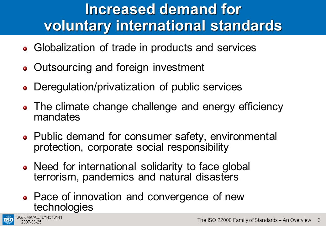 Increased demand for voluntary international standards