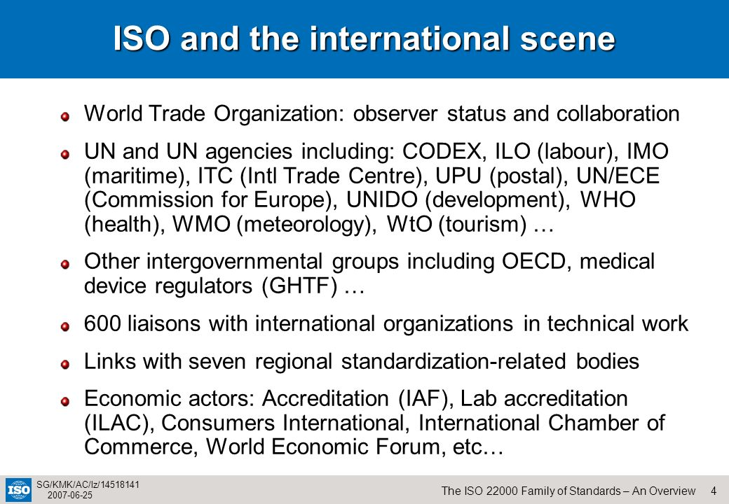 ISO and the international scene