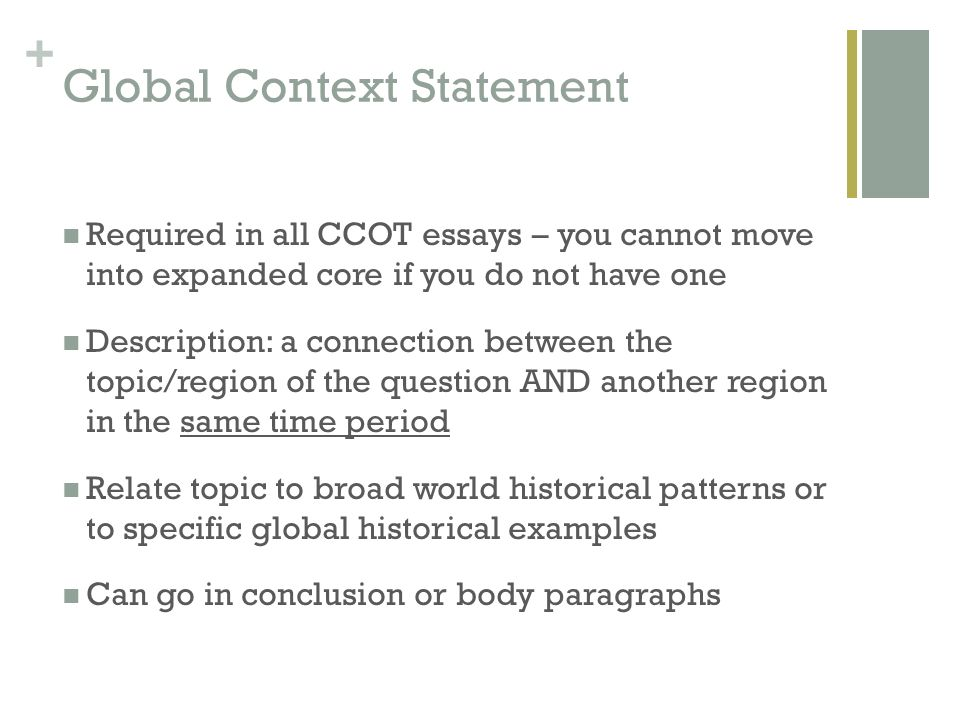 change and continuity over time essay ccot ppt video online 14 global context statement required in all ccot essays