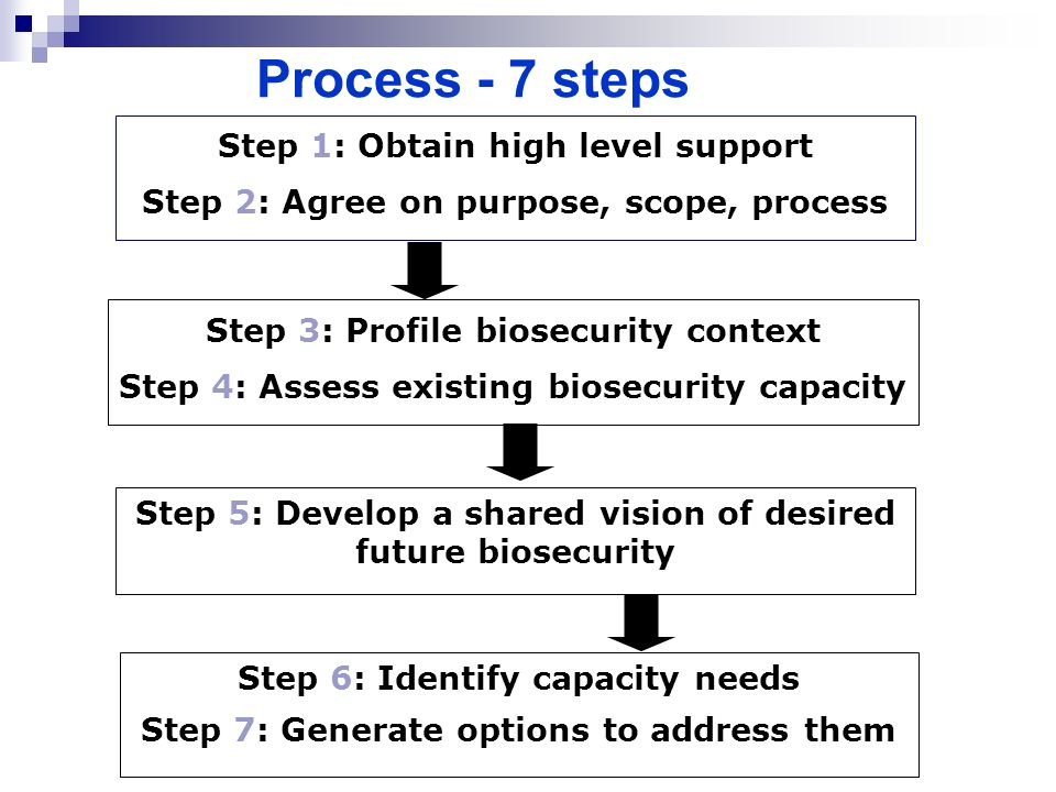 Process - 7 steps Step 1: Obtain high level support