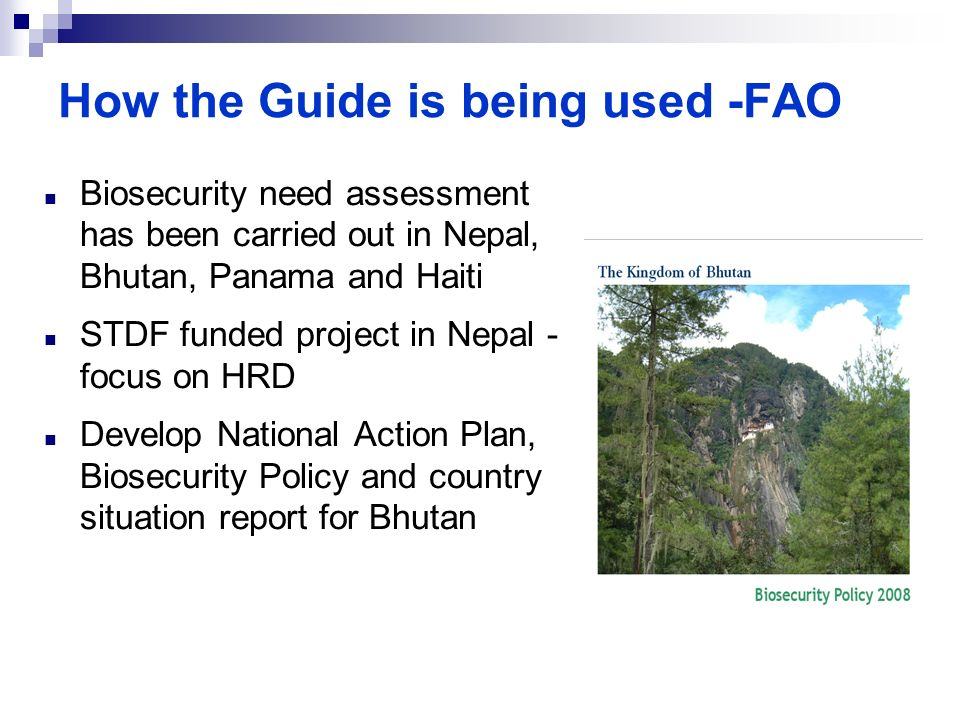How the Guide is being used -FAO