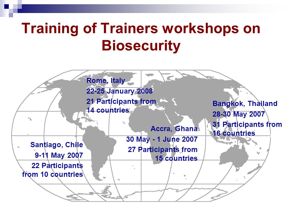 Training of Trainers workshops on Biosecurity