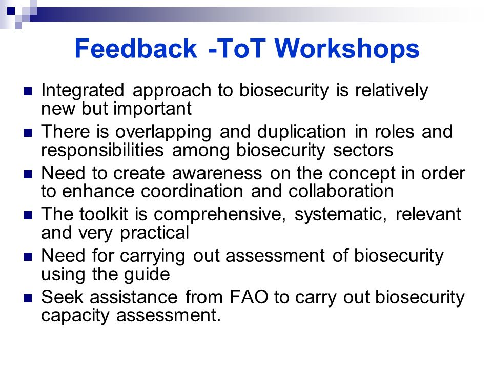 Feedback -ToT Workshops