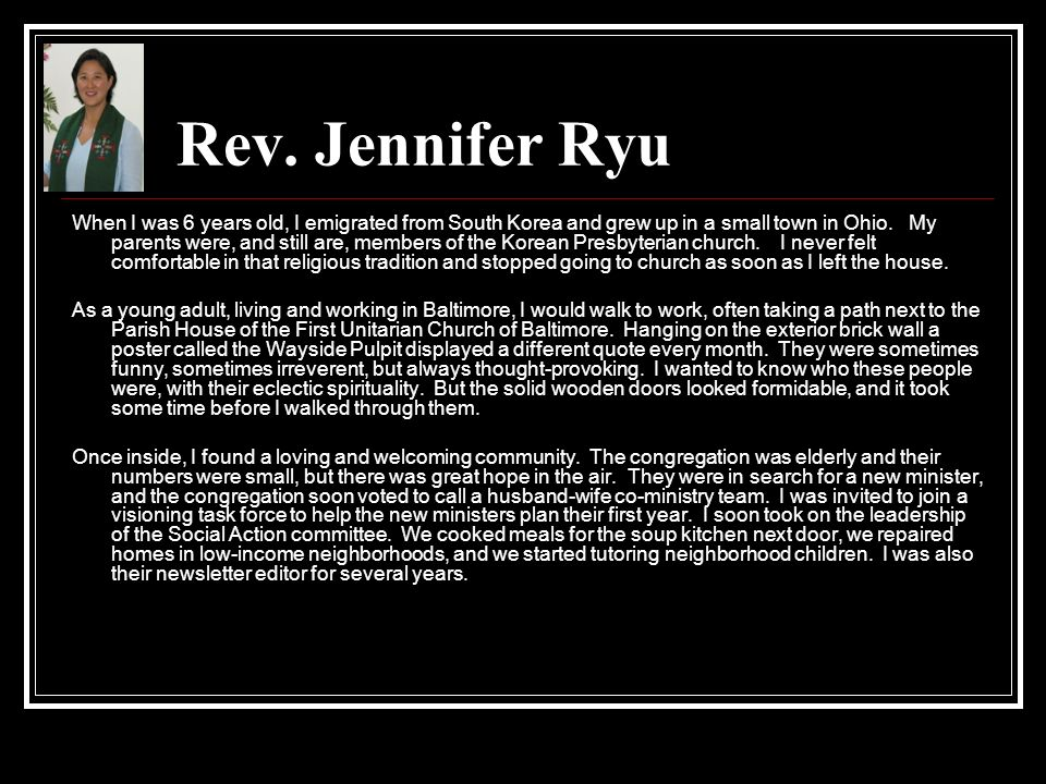 Rev. Jennifer Ryu
