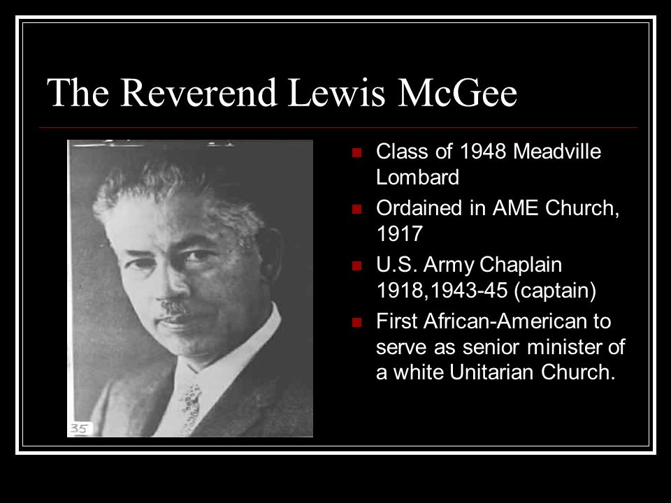 The Reverend Lewis McGee