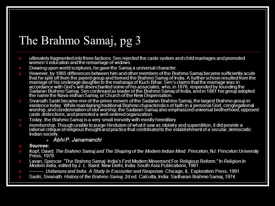 The Brahmo Samaj, pg 3 Abhi P. Janamanchi