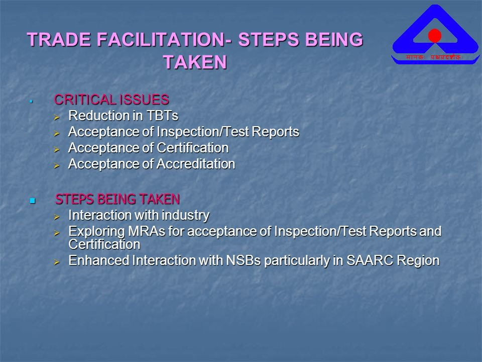 TRADE FACILITATION- STEPS BEING TAKEN