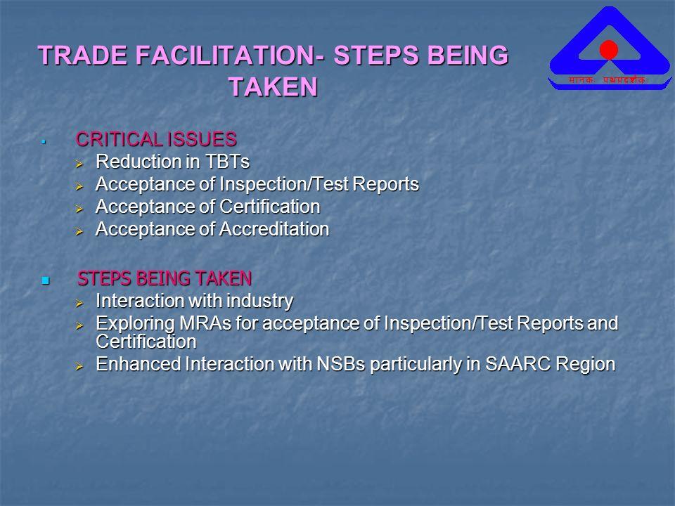 TRADE FACILITATION- STEPS BEING TAKEN