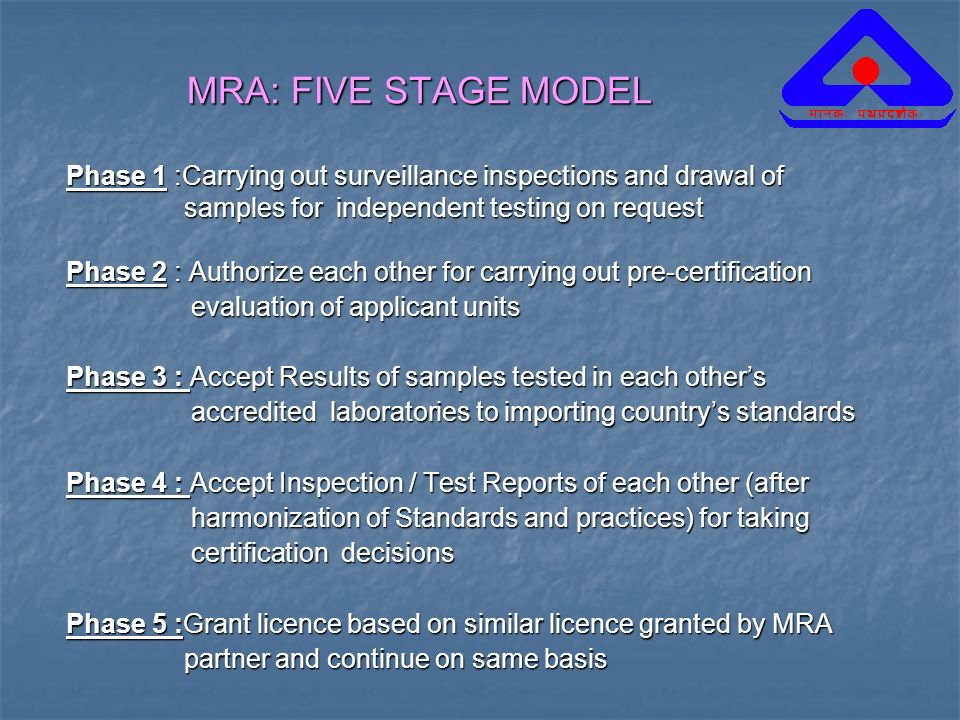 MRA: FIVE STAGE MODELPhase 1 :Carrying out surveillance inspections and drawal of. samples for independent testing on request.