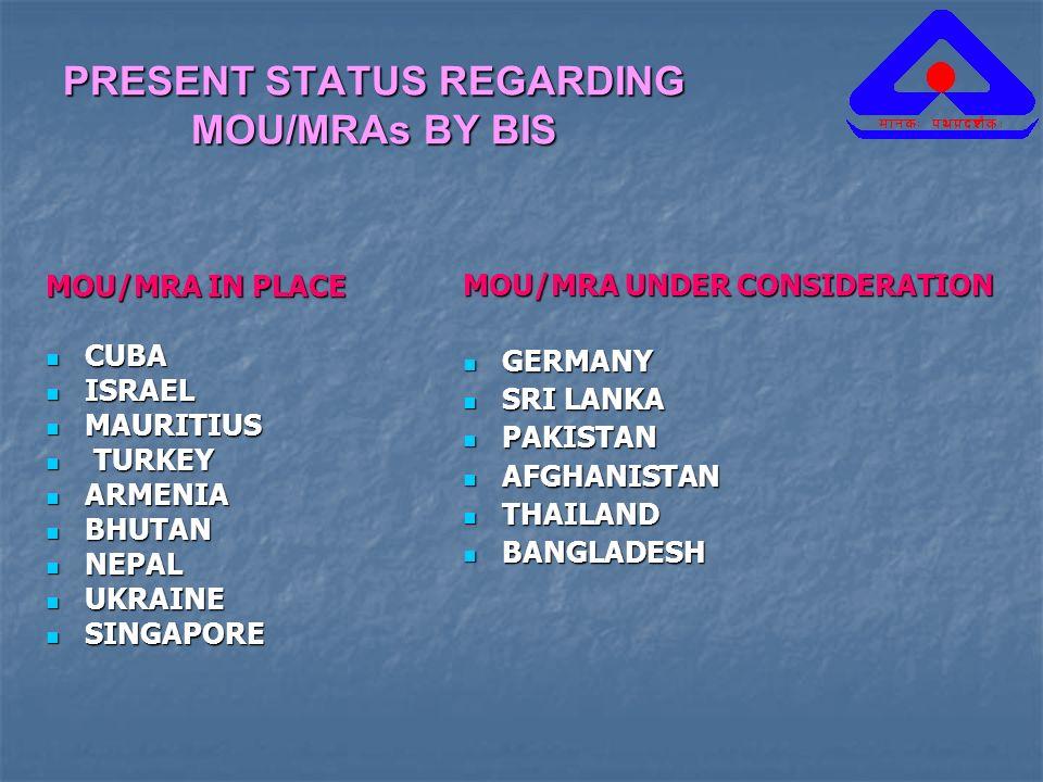 PRESENT STATUS REGARDING MOU/MRAs BY BIS
