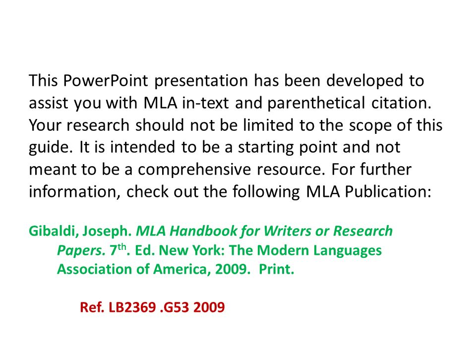 mla handbook for writers of research papers 7th ed. 2009