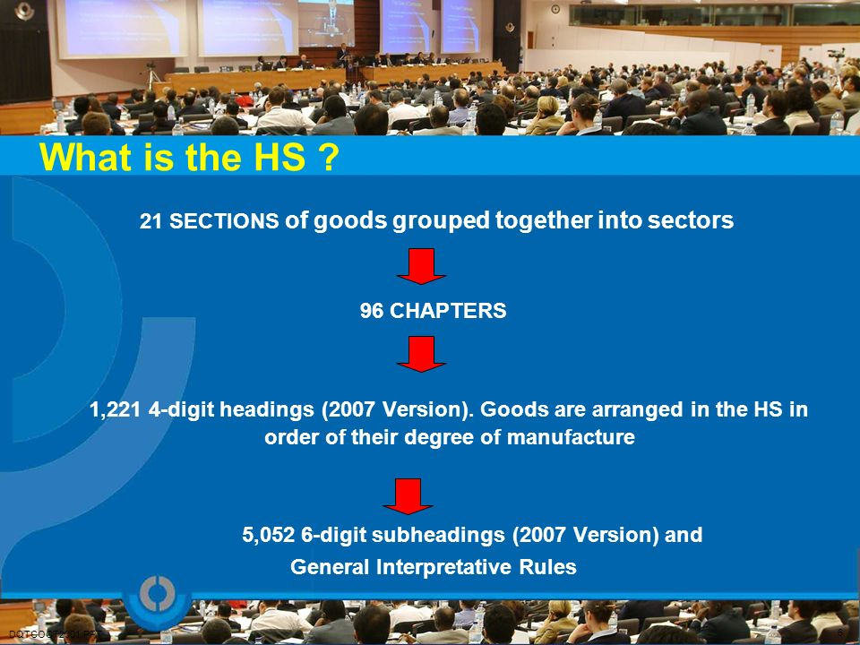 What is the HS 21 SECTIONS of goods grouped together into sectors