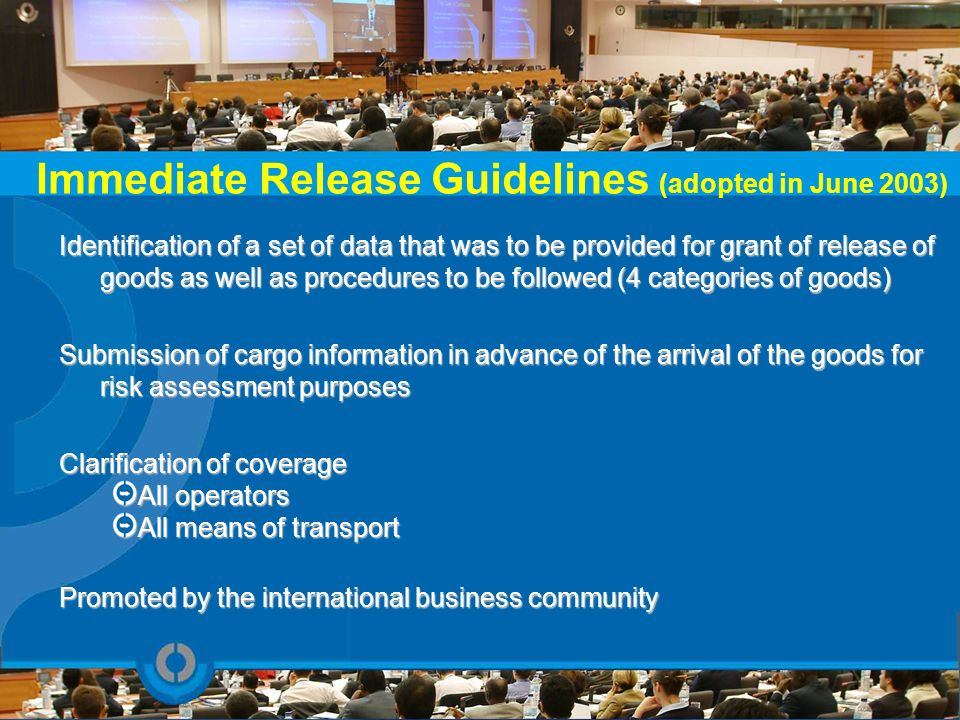 Immediate Release Guidelines (adopted in June 2003)
