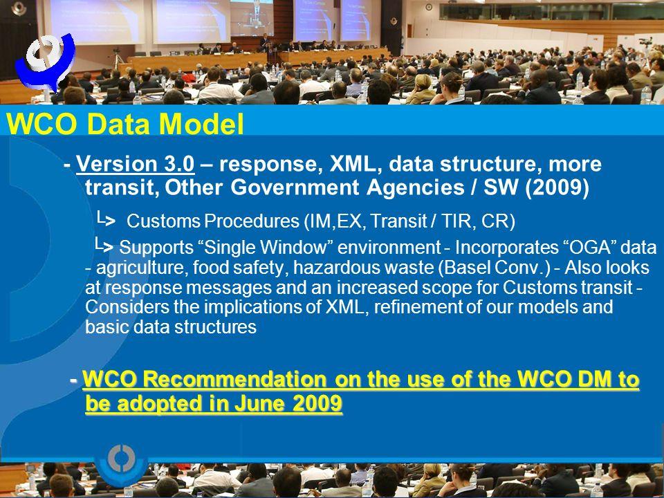 WCO Data Model └> Customs Procedures (IM,EX, Transit / TIR, CR)