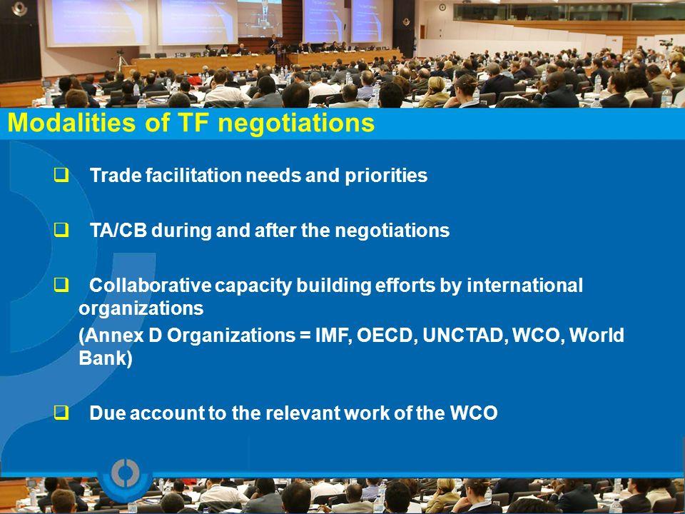 Modalities of TF negotiations