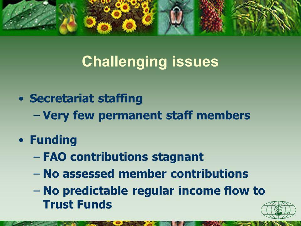 Challenging issues Secretariat staffing