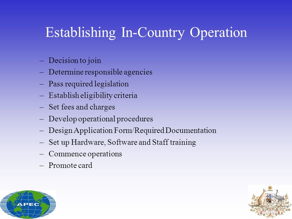 Establishing In-Country Operation