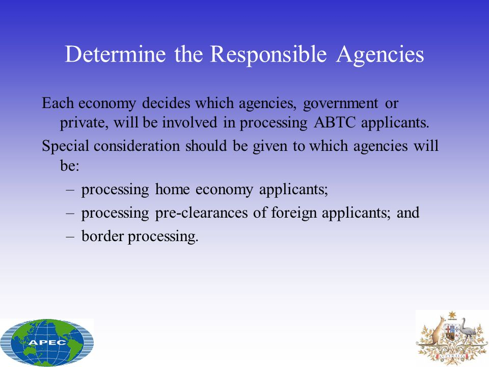 Determine the Responsible Agencies