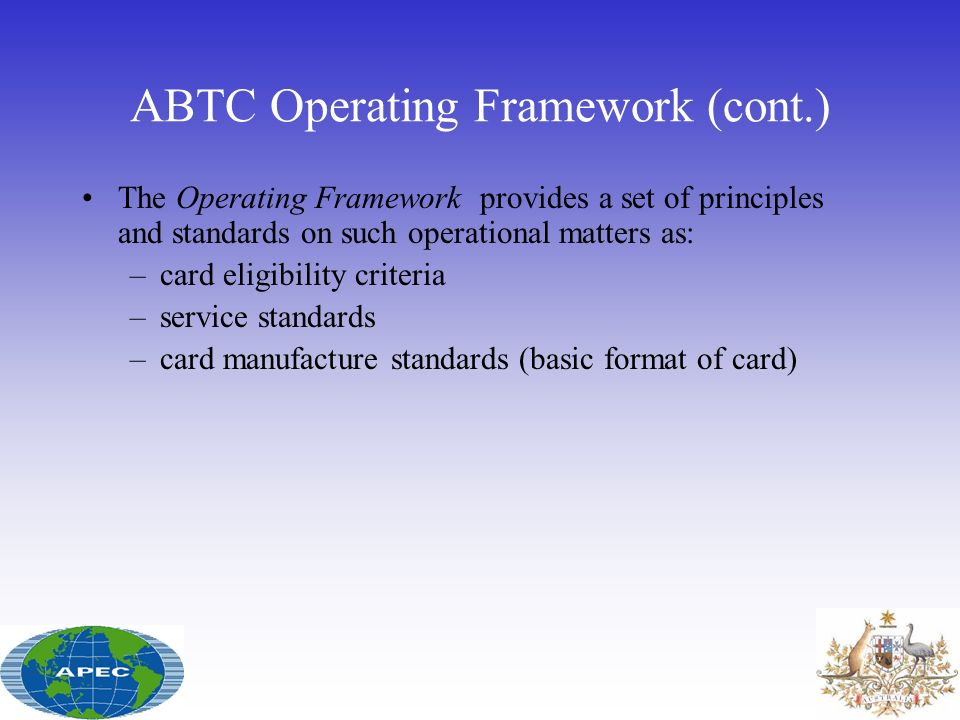ABTC Operating Framework (cont.)