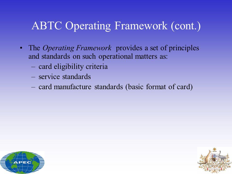 ABTC Operating Framework (cont.)