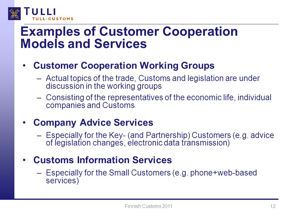 Examples of Customer Cooperation Models and Services
