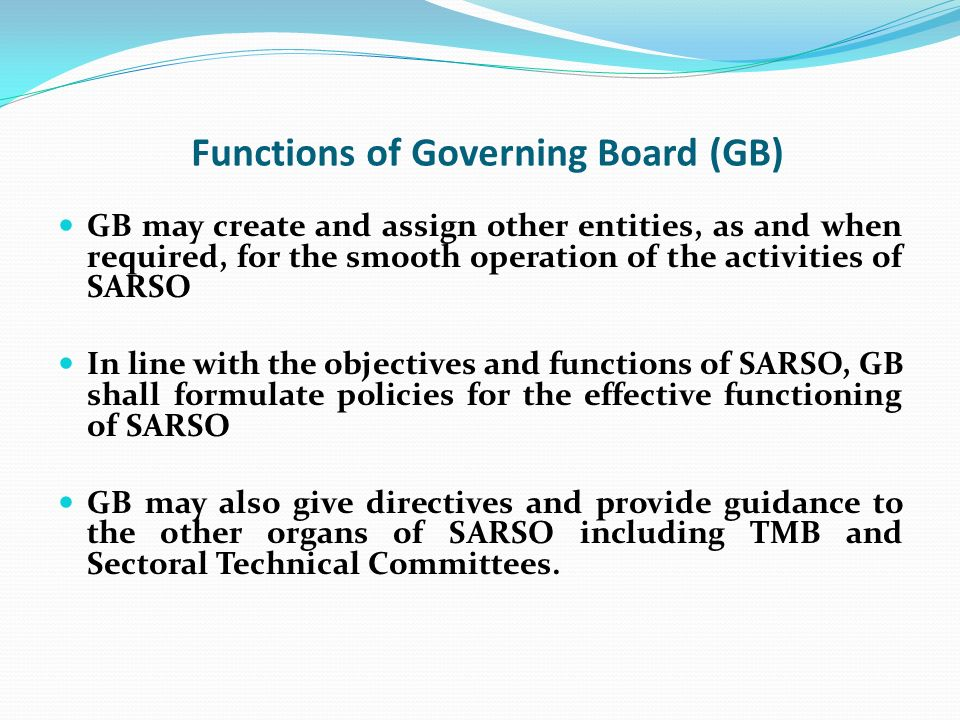 Functions of Governing Board (GB)