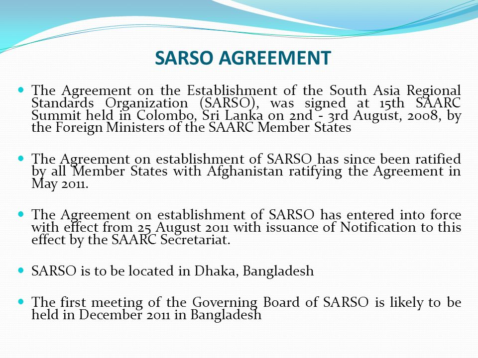 SARSO AGREEMENT