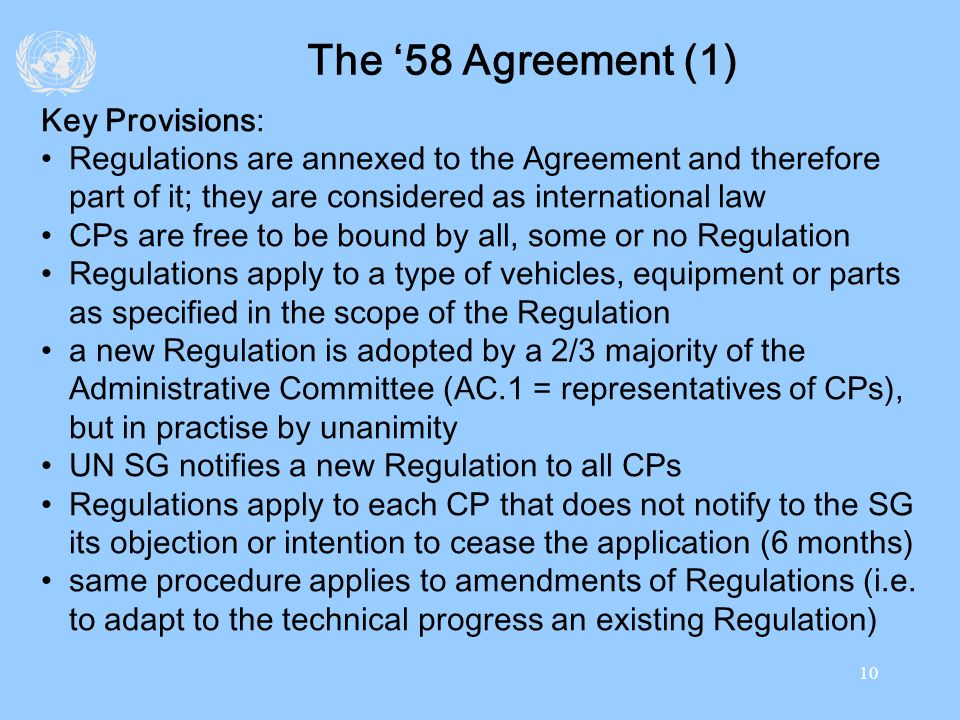The '58 Agreement (1) Key Provisions: