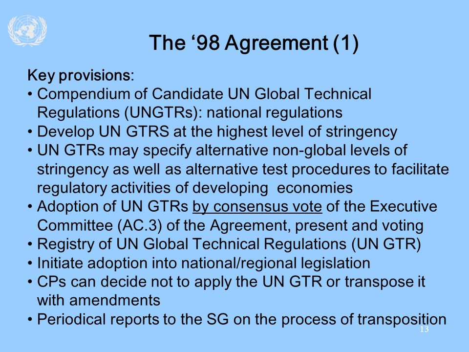 The '98 Agreement (1) Key provisions: