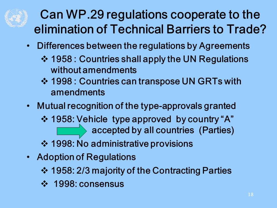 Can WP.29 regulations cooperate to the elimination of Technical Barriers to Trade
