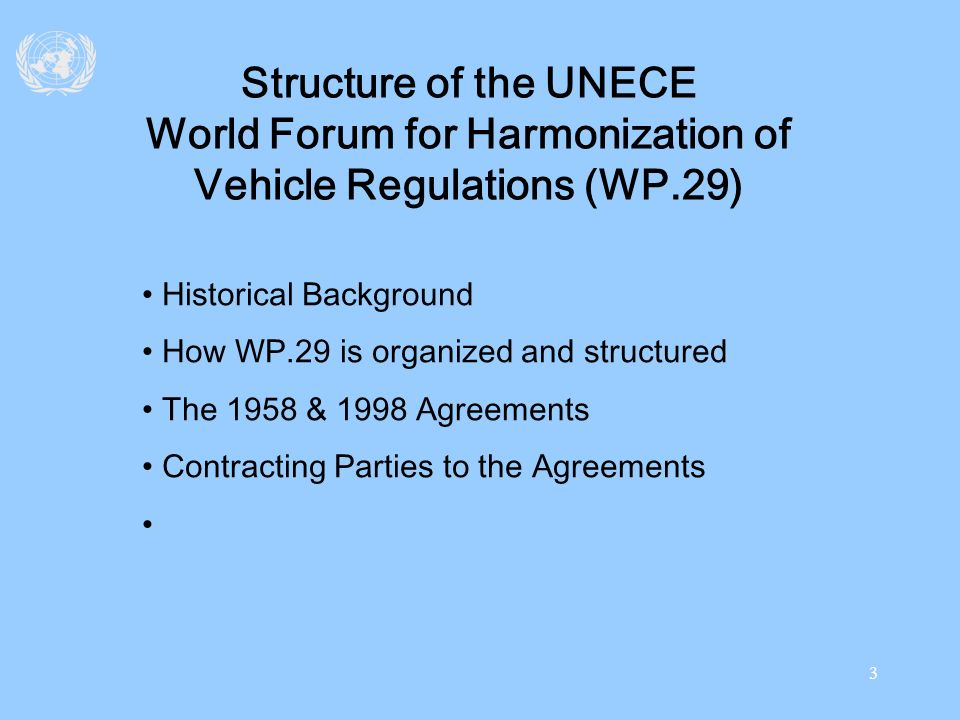 Structure of the UNECE World Forum for Harmonization of Vehicle Regulations (WP.29)
