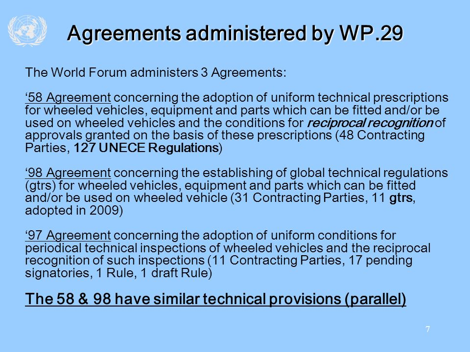 Agreements administered by WP.29