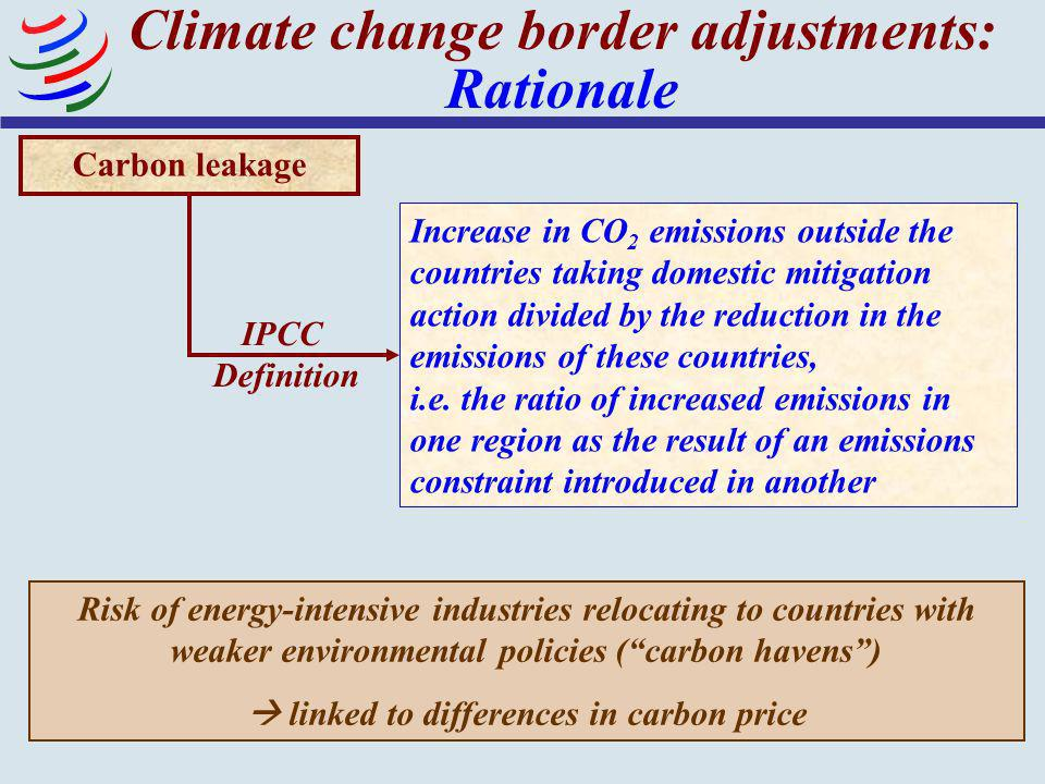 Climate change border adjustments: Rationale