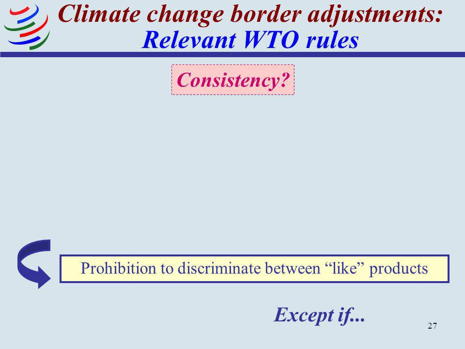 Climate change border adjustments: Relevant WTO rules