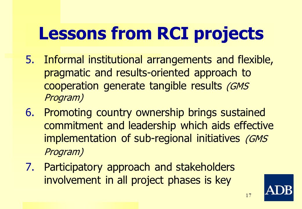 Lessons from RCI projects