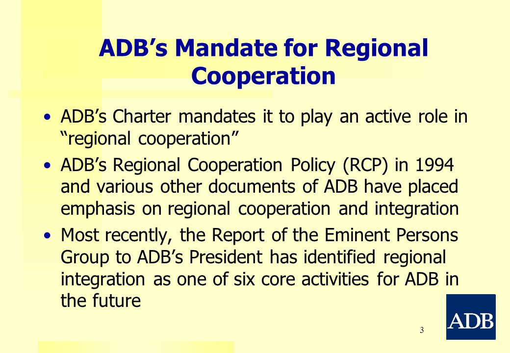 ADB's Mandate for Regional Cooperation
