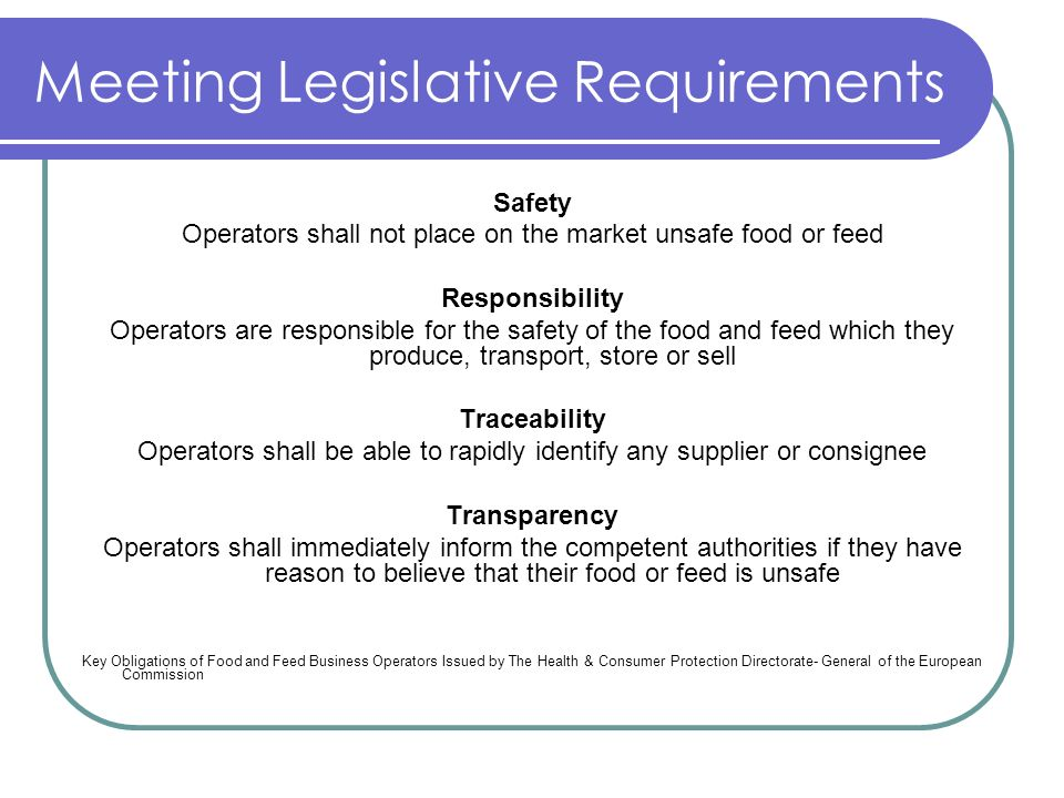 Meeting Legislative Requirements