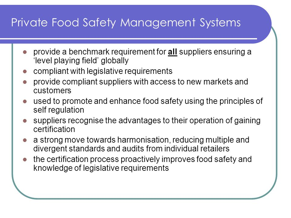 Private Food Safety Management Systems