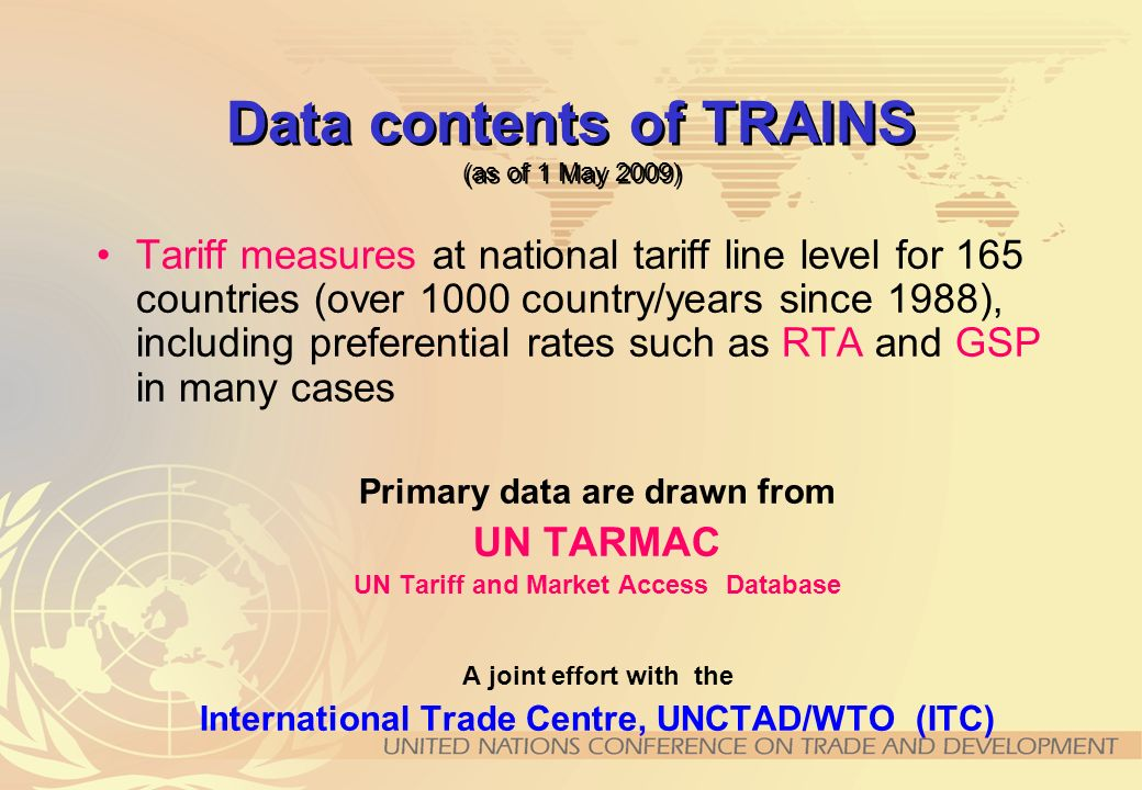 Data contents of TRAINS (as of 1 May 2009)