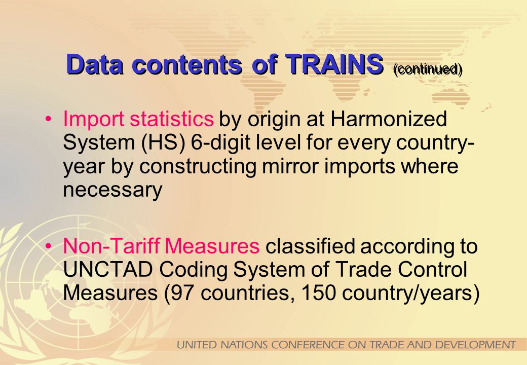 Data contents of TRAINS (continued)