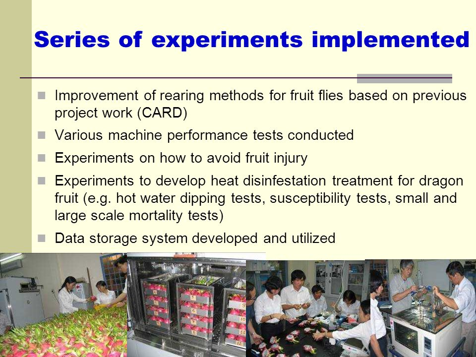 Series of experiments implemented